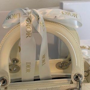Dior Bags - Dior lady Dior medium ivory patent leather bag